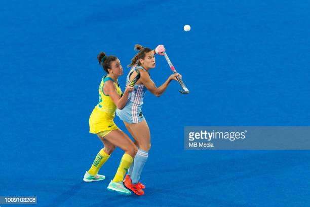 Martina Cavallero of Argentina controls the ball during the quarter final game between Australia and Argentina of the FIH Womens Hockey World Cup at...