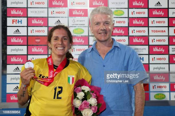 Martina Chirico of Italy with her Player of the Match award during the Pool A game between South Korea and Italy of the FIH Womens Hockey World Cup...