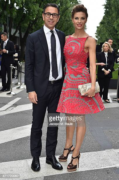 Martina Colombari and Alessandro Costacurta attend the Giorgio Armani 40th Anniversary Silos Opening And Cocktail Reception on April 30 2015 in Milan...