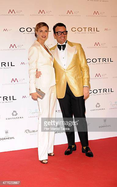 Martina Colombari and Alessandro Martorana attend the Alessandro Martorana birthday party at Four Seasons Hotel on March 6 2014 in Milan Italy
