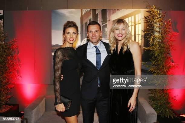 Martina Colombari Andriy Shevchenko and Natasha Stefanenko attend the 'La 25esima Ora New Audi A8 Launch' at Unicredit Pavilion on October 30 2017 in...