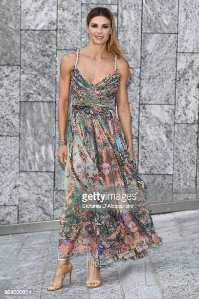 Martina Colombari arrives at Convivio 2018 on June 5, 2018 in Milan, Italy.