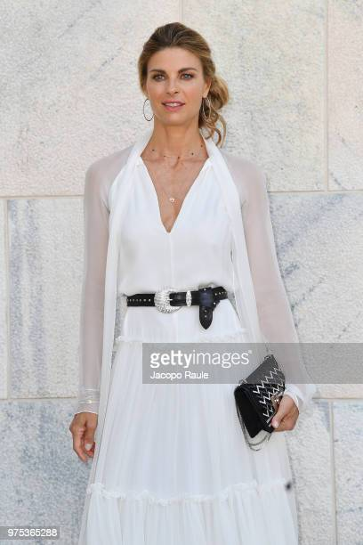 Martina Colombari arrives at the Alberta Ferretti show during Milan Men's Fashion Week Spring/Summer 2019 on June 15 2018 in Milan Italy