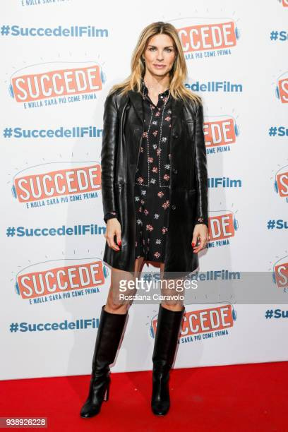 Martina Colombari attends 'Succede' photocall on March 27, 2018 in Milan, Italy.
