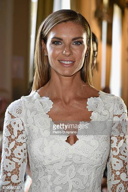 Martina Colombari attends the Blumarine show during Milan Fashion Week Spring/Summer 2017 on September 24 2016 in Milan Italy