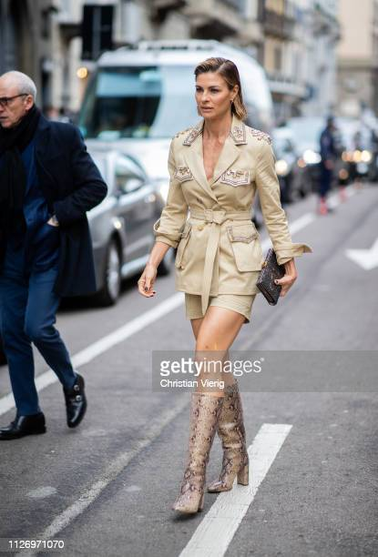 Martina Colombari attends the Ermanno Scervino show at Milan Fashion Week Autumn/Winter 2019/20 on February 23 2019 in Milan Italy