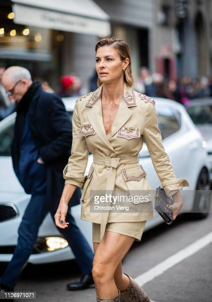 Martina Colombari attends the Ermanno Scervino show at Milan Fashion Week Autumn/Winter 2019/20 on February 23, 2019 in Milan, Italy.