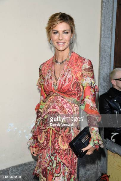 Martina Colombari attends the Etro show at Milan Fashion Week Autumn/Winter 2019/20 on February 22 2019 in Milan Italy