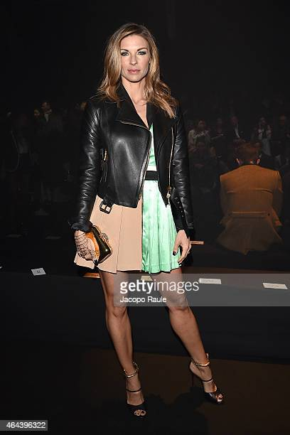 Martina Colombari attends the Fausto Puglisi show during the Milan Fashion Week Autumn/Winter 2015 on February 25 2015 in Milan Italy