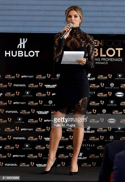 Martina Colombari attends the Golden Foot Ceremony Award on October 11 2016 in Monaco Monaco