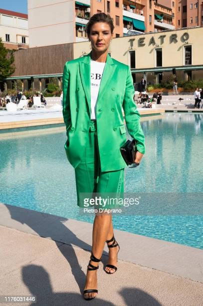 Martina Colombari attends the Iceberg fashion show during the Milan Fashion Week Spring/Summer 2020 on September 20, 2019 in Milan, Italy.