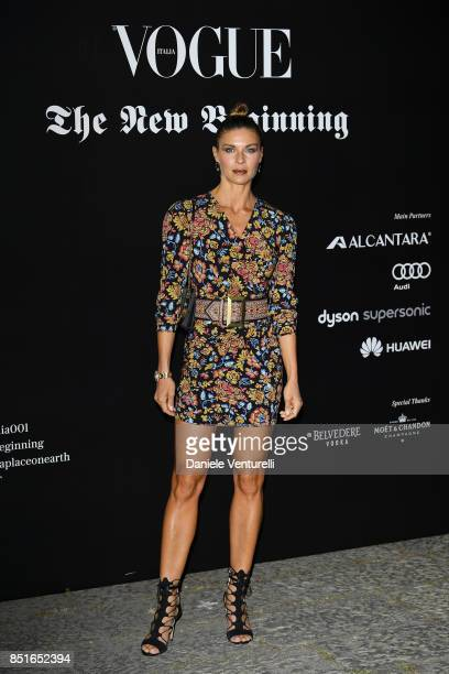 Martina Colombari attends the Vogue Italia 'The New Beginning' Party during Milan Fashion Week Spring/Summer 2018 on September 22 2017 in Milan Italy