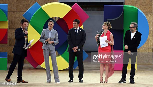Martina Colombari Javier Zanetti Claudia Gerini and Massimo Bottura attend the Opening Ceremony Expo 2015 at Fiera Milano Rho on May 1 2015 in Milan...