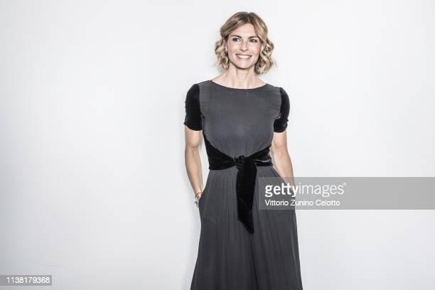 Martina Colombari poses during Cortinametraggio on March 23, 2019 in Cortina d'Ampezzo, Italy.