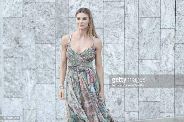Martina Colombari poses on June 5, 2018 in Milan, Italy.