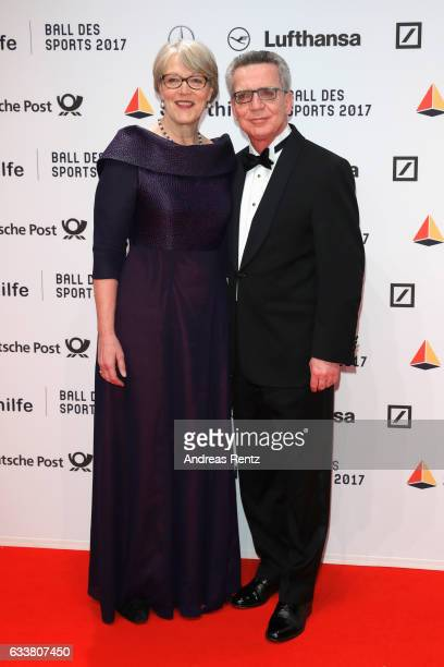 Martina de Maiziere and Thomas de Maiziere attend the German Sports Gala 'Ball des Sports 2017' on February 4, 2017 in Wiesbaden, Germany.