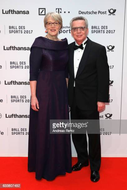 Martina de Maiziere and Thomas de Maiziere attend the German Sports Gala 'Ball des Sports 2017' on February 4 2017 in Wiesbaden Germany