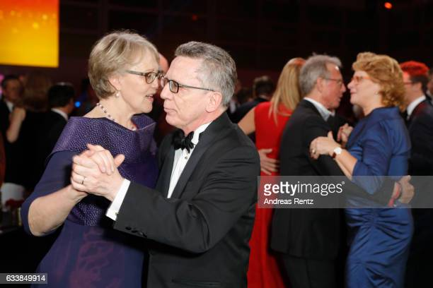 Martina de Maiziere and Thomas de Maiziere dance during the German Sports Gala 'Ball des Sports 2017' on February 4, 2017 in Wiesbaden, Germany.