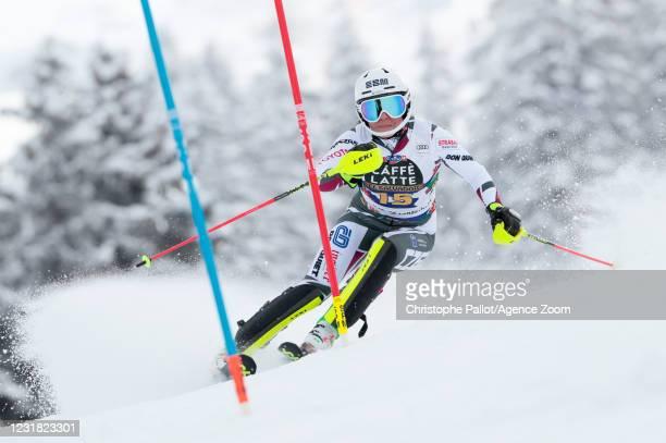 Martina Dubovska of Czech Republic in action during the Audi FIS Alpine Ski World Cup Women's Slalom on March 20, 2021 in Lenzerheide, Switzerland.
