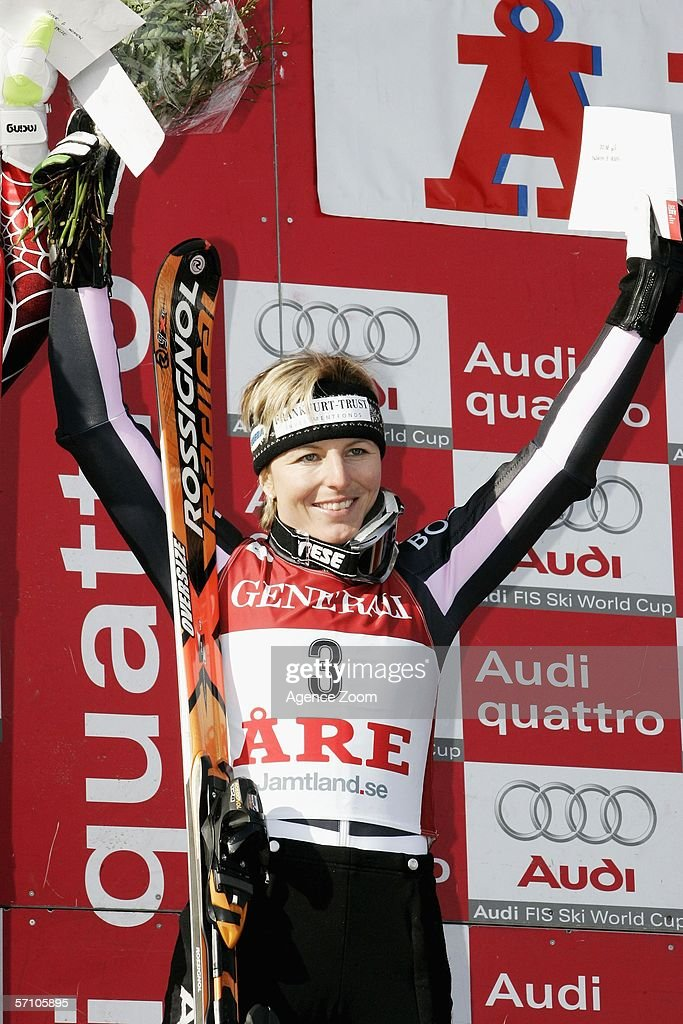 Martina Ertl-Renz from Germany takes 3rd place during the FIS Skiing World Cup Super-G - Women's Super-G on March 16, 2006 in Aare, Sweden