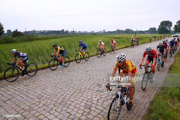 Martina Fidamza of Italty / Celia Le Mouel of France / Peloton / Cobblestones / during the 25th UEC Road European Championships 2019 - U23 Women's...
