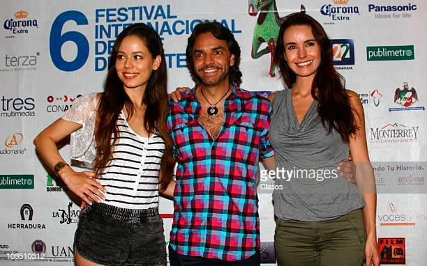 Martina Garcia Eugenio Derbez and Alejandra Barros pose for a photo during a press conference on the movie No Eres Tu Soy Yo as part of the Festival...
