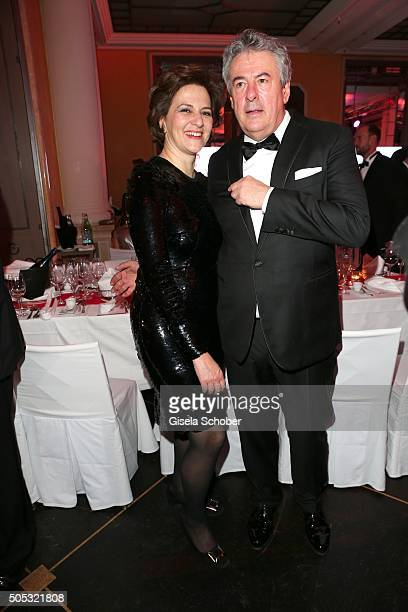 Martina Gedeck and her boyfriend Markus Imboden during the German Film Ball 2016 party at Hotel Bayerischer Hof on January 16 2016 in Munich Germany