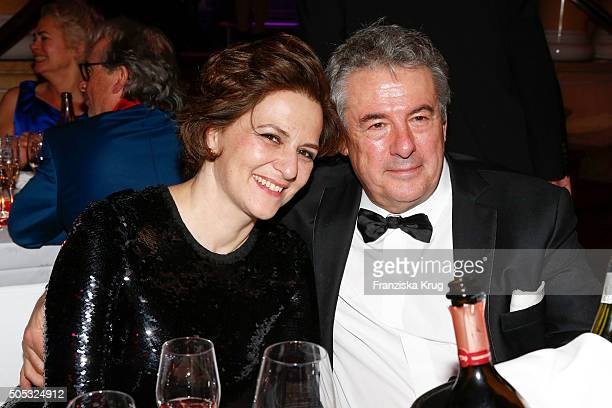 Martina Gedeck and Markus Imboden during the German Film Ball 2016 at Hotel Bayerischer Hof on January 16 2016 in Munich Germany