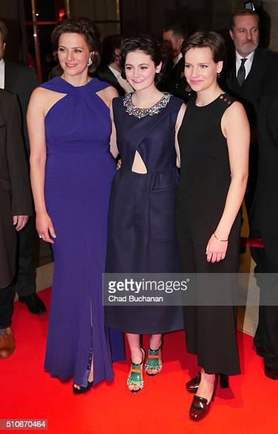 Martina Gedeck Lea van Acken and Stella Kunkat attend the 'Tagebuch der Anne Frank' premiere during the 66th Berlinale International Film Festival...