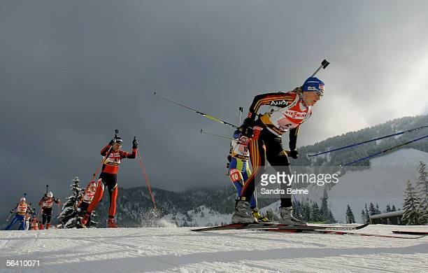 Martina Glagow of Germany competes during the women's 4 x 6 km relay of the IBU Biathlon World Cup on December 10, 2005 in Hochfilzen, Austria.