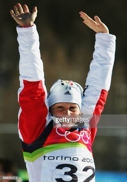 Martina Glagow of Germany waves to the crowd after winning the bronze medal in the Womens Biathlon 15km Individual Final on Day 3 of the 2006 Turin...