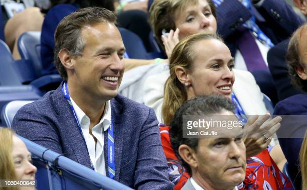 Martina Hingis and husband Harald Leemann attend the men's final on day 14 of the 2018 tennis US Open on Arthur Ashe stadium at the USTA Billie Jean...