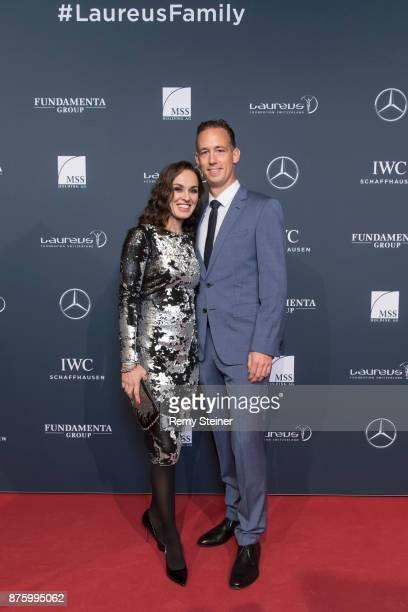 Martina Hingis and Thibault Hutin attend the 11th Laureus Charity Night at Hangar Duebendorf on November 18 2017 near Zurich Switzerland