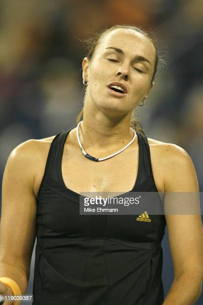 Martina Hingis during a second round match against Virginie Razzano at the 2006 US Open at the USTA Billie Jean King National Tennis Center in Queens...