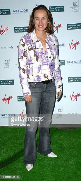 Martina Hingis during PreWimbledon Party Arrivals at Kensington Roof Gardens in London Great Britain