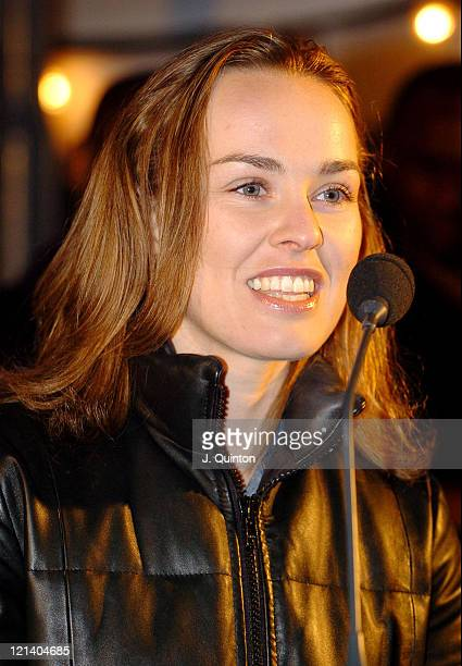 Martina Hingis during UN Year of Sport in Europe Photocall and Party at Somerset House Ice Rink in London Great Britain