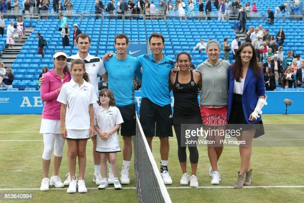 Martina Hingis Jamie Murray Andy Murray Ross Hutchins Heather Watson Victoria Azarenka and an injured Laura Robson pose for a photo during the Rally...