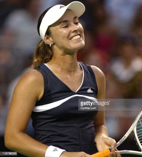 Martina Hingis misses a shot. Martina Hingis defeats Emma Laine 6-1, 6-1 in the second round of the Australian Open, Melbourne Park, Melbourne,...