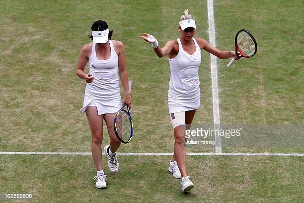 Martina Hingis of Switzerland and Anna Kournikova of Russia in action during their Ladies Invitational Doubles match against Helena Sukova of Czech...