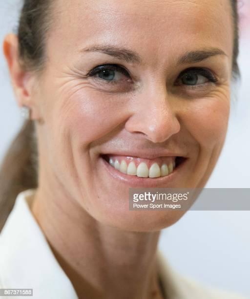 Martina Hingis of Switzerland and Chan Yungjan of Taiwan attend a promotional event during the BNP Paribas WTA Finals Singapore presented by SC...
