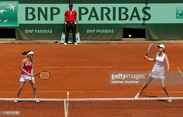 Martina Hingis of Switzerland and Lindsay Davenport of USA in action during the women's legends final match between Lindsay Davenport of USA and...
