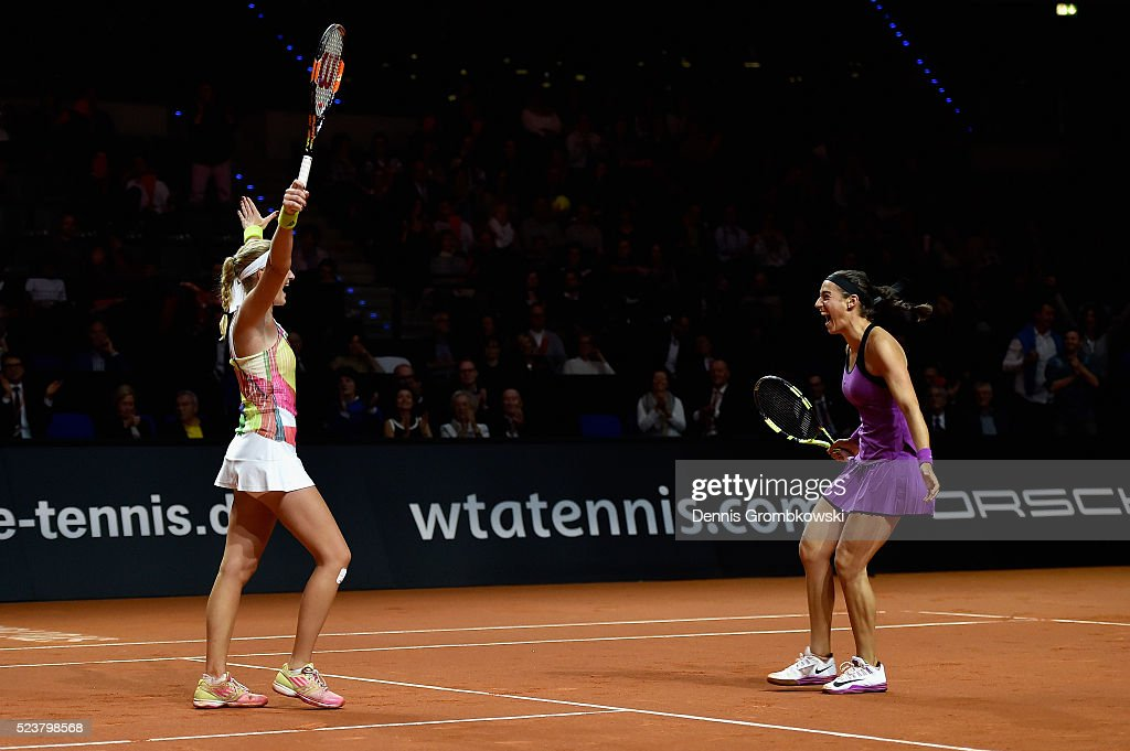 Martina Hingis of Switzerland and Sania Mirza of India celebrate match point in the doubles final against Caroline Garcia and Kristina Mladenovic of France on Day 7 of the Porsche Tennis Grand Prix at Porsche-Arena on April 24, 2016 in Stuttgart, Germany.