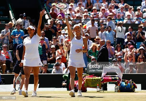 Martina Hingis of Switzerland and Sania Mirza of India celebrate winning the Ladies' Doubles Semi Final match against Raquel KopsJones of the United...