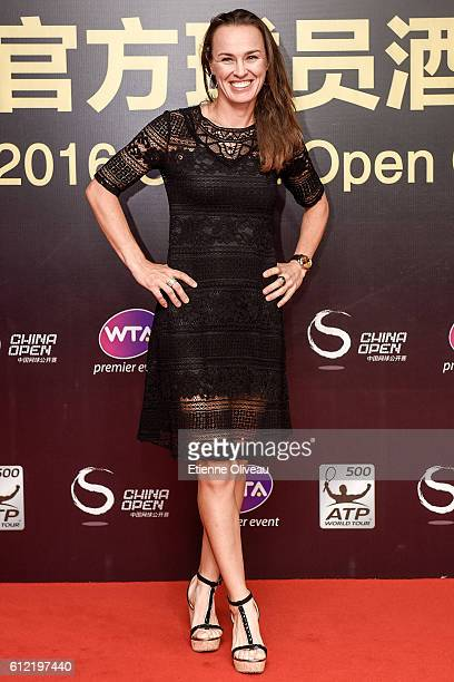 Martina Hingis of Switzerland arrives at the 2016 China Open Player Party at The Birds Nest, on October 3, 2016 in Beijing, China.