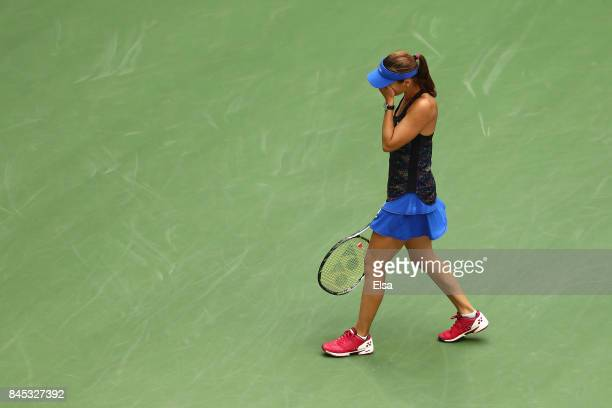 Martina Hingis of Switzerland celebrates defeating Lucie Hradecka of Czech Republic and Katerina Siniakova of Czech Republic after their Women's...