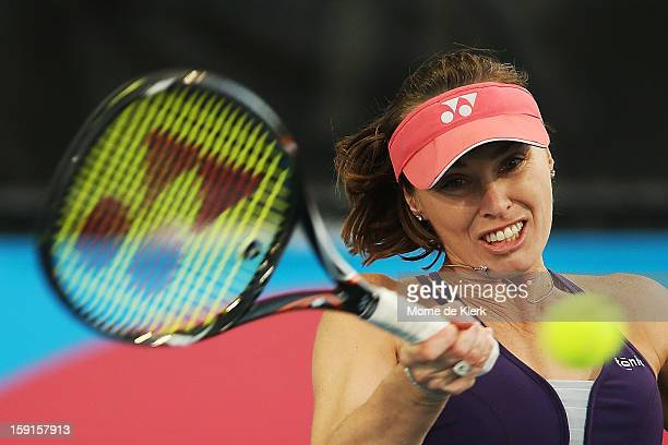 Martina Hingis of Switzerland competes during the World Tennis Challenge at Memorial Drive on January 9 2013 in Adelaide Australia