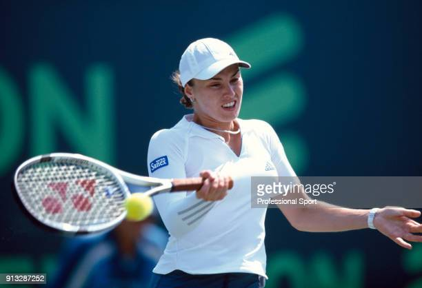 Martina Hingis of Switzerland in action during the Ericsson Open Tennis Tournament at the Tennis Center at Crandon Park in Key Biscayne Florida circa...