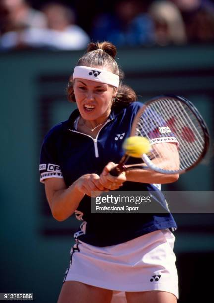 Martina Hingis of Switzerland in action during the French Open Tennis Championships at the Stade Roland Garros circa May 1999 in Paris France