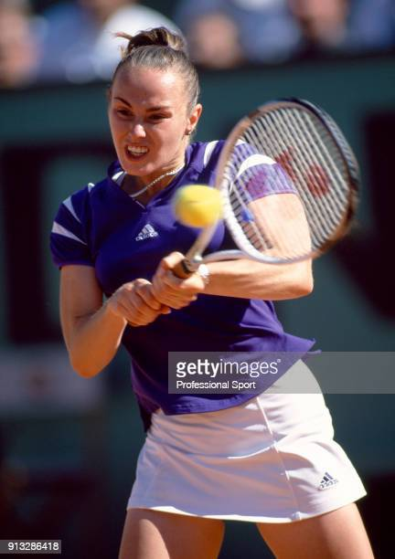 Martina Hingis of Switzerland in action during the French Open Tennis Championships at the Stade Roland Garros circa May 2000 in Paris France