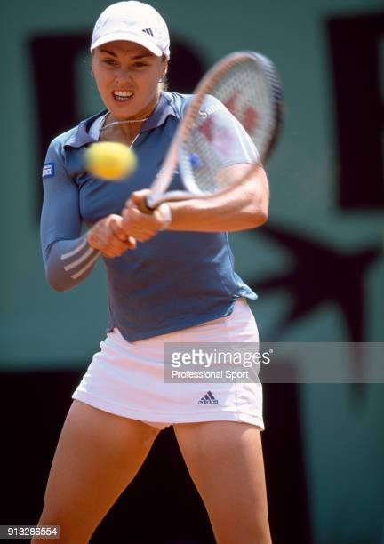 Martina Hingis of Switzerland in action during the French Open Tennis Championships at the Stade Roland Garros circa May 2001 in Paris France